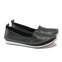 Анатомични дамски мокасини от естествена кожа МИ 307 черен | Равни дамски обувки