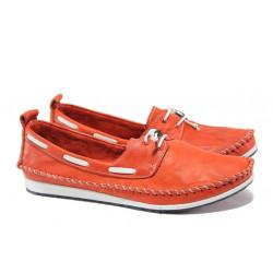 Анатомични дамски мокасини от естествена кожа МИ 308 червен | Равни дамски обувки