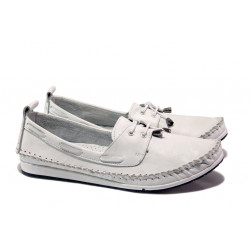 Анатомични дамски мокасини от естествена кожа МИ 308 бял | Равни дамски обувки