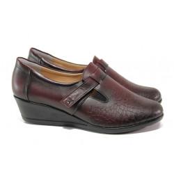 Дамски обувки от естествена кожа МИ 640 бордо | Дамски обувки на платформа