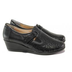 Дамски обувки от естествена кожа МИ 640 черен | Дамски обувки на платформа