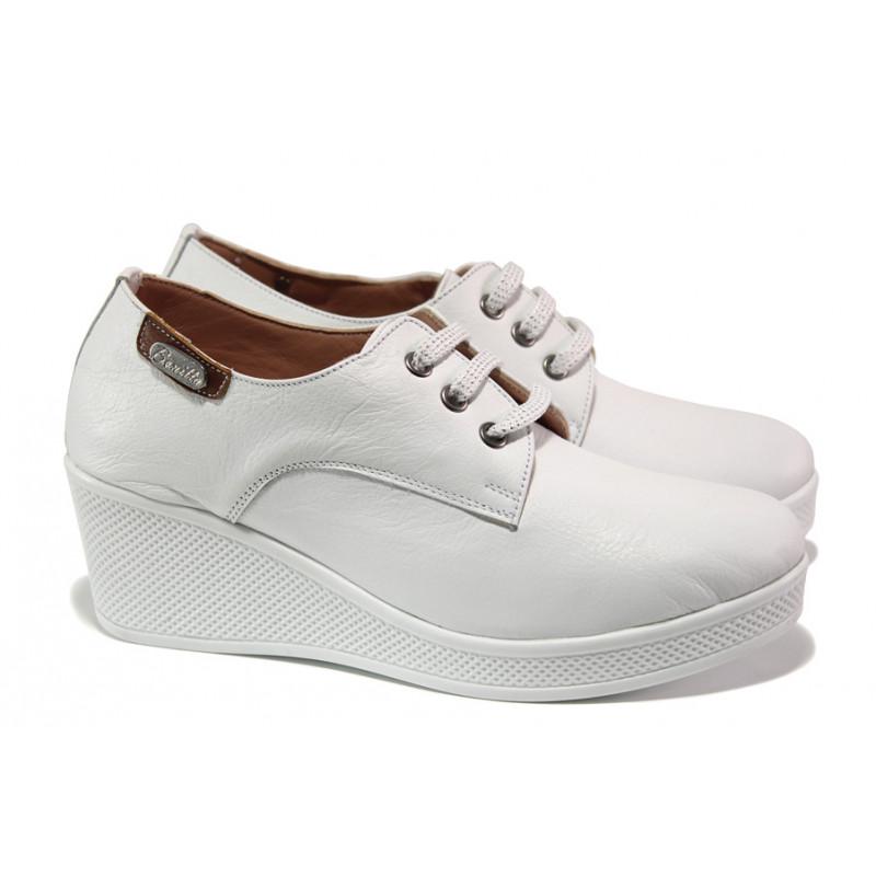 d504d6e0635 Анатомични дамски обувки от естествена кожа МИ 130 бял | Дамски обувки на  платформа