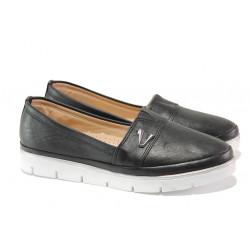 Анатомични дамски обувки от естествена кожа МИ 268-14608 черен | Равни дамски обувки