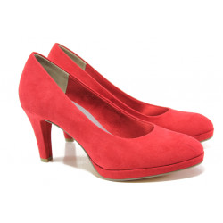Анатомични дамски велурени обувки Marco Tozzi 2-22404-22 червен | Немски обувки на ток