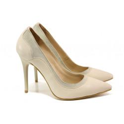 Елегантни дамски обувки от естествена кожа МИ 202 бежов | Дамски обувки на висок ток