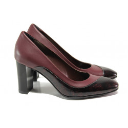 Елегантни дамски обувки от естествена кожа МИ 160 бордо | Дамски обувки на висок ток