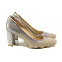 Елегантни дамски обувки от естествена кожа МИ 160 бежов | Дамски обувки на висок ток