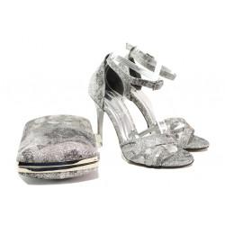 Елегантни дамски сандали МИ 1476 сив | Дамски сандали на висок ток
