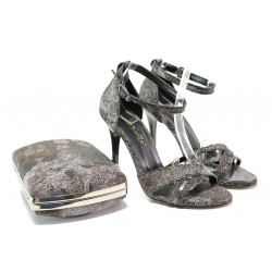 Елегантни дамски сандали МИ 1476 черен | Дамски сандали на висок ток