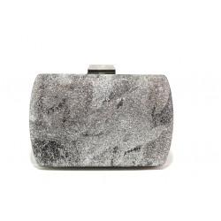 Елегантна дамска чанта клъч МИ 3 сребро | Дамска чанта