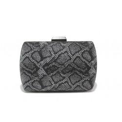 Елегантна дамска чанта клъч МИ 3 черен-бял | Дамска чанта