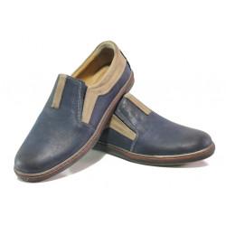 Анатомични мъжки обувки от естествена кожа МИ 044-1045 син | Мъжки ежедневни обувки