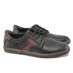 Анатомични мъжки обувки от естествена кожа МИ 051-1045 черен-червен | Мъжки ежедневни обувки