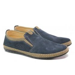 Анатомични мъжки обувки от естествен набук ПИ 807 син | Мъжки ежедневни обувки