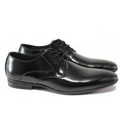 Анатомични елегантни обувки от естествена кожа-лак ЛД 135 черен лак | Мъжки официални обувки