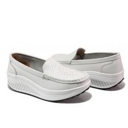 Комфортни дамски мокасини от естествена кожа ФР 339 бял | Дамски обувки на платформа