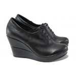 Анатомични български обувки от естествена кожа НЛ 151-10383 черен   Дамски обувки на платформа
