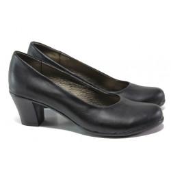 Анатомични български обувки от естествена кожа НЛ 165-1705 черен кожа | Дамски обувки на ток