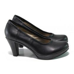 Анатомични български обувки от естествена кожа НЛ 299-6843 черен | Дамски обувки на ток