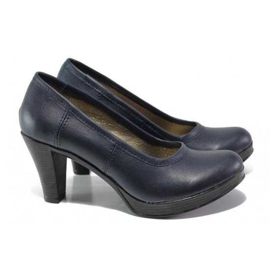 Анатомични български обувки от естествена кожа НЛ 299-6843 син | Дамски обувки на ток