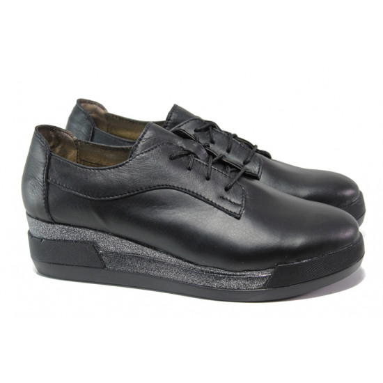 Анатомични български обувки от естествена кожа НЛ 289-8218 черен | Дамски обувки на платформа