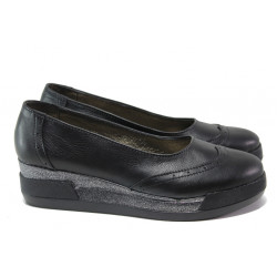 Анатомични български обувки от естествена кожа НЛ 300-8218 черен | Дамски обувки на платформа
