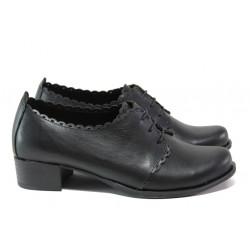 Анатомични дамски обувки от естествена кожа МИ 174 черен | Дамски обувки на среден ток
