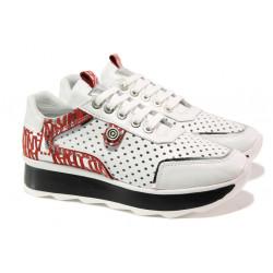 Дамски спортни обувки от естествена кожа с перфорация МИ 64-1 бял | Дамски маратонки