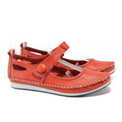 Анатомични мокасини от естествена кожа МИ 306-1010 червен | Равни дамски обувки