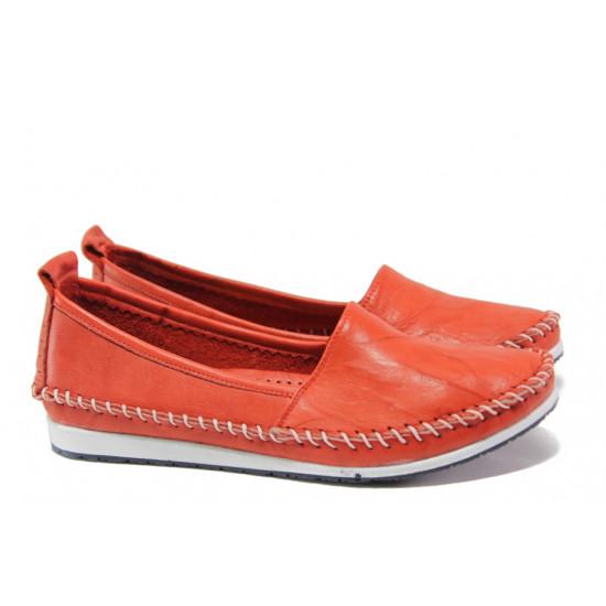 Анатомични мокасини от естествена кожа МИ 307 червен | Равни дамски обувки