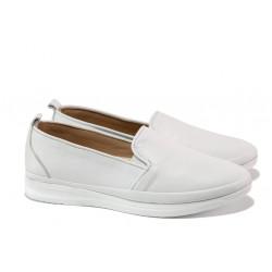 Анатомични дамски обувки от естествена кожа МИ 273-14202 бял | Равни дамски обувки