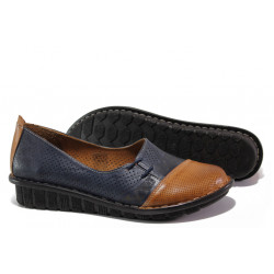 Анатомични дамски обувки от естествена кожа МИ 18101-1 син гигант | Равни дамски обувки