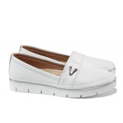 Анатомични дамски обувки от естествена кожа МИ 268-14608 бял | Равни дамски обувки
