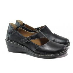 Анатомични дамски обувки от естествена кожа МИ 102-7 черен | Дамски обувки на платформа
