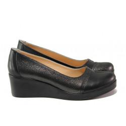 Дамски обувки от естествена кожа МИ 9563 черен | Дамски обувки на платформа