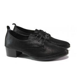 Анатомични обувки от естествена кожа МИ 916-14 черен сатен | Дамски обувки на среден ток