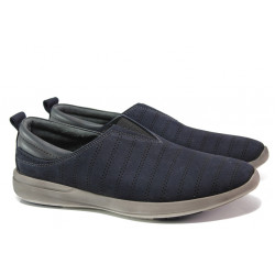 Мъжки обувки от естествен набук с перфорация МИ 07-3 т.син | Мъжки ежедневни обувки