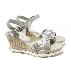 Дамски сандали от естествена кожа Marco Tozzi 2-28346-22 сив | Немски сандали на платформа