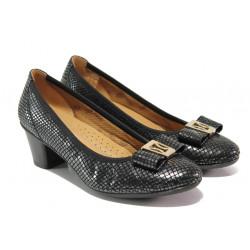 Дамски ортопедични обувки от естествена кожа SOFTMODE 173003 черен | Дамски обувки на среден ток