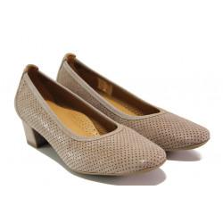 Дамски ортопедични обувки от естествена кожа SOFTMODE 7096 таупе | Дамски обувки на среден ток