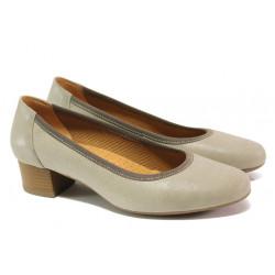 Дамски ортопедични обувки от естествена кожа SOFTMODE 5172803 бежов   Дамски обувки на среден ток
