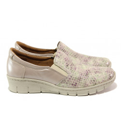 Дамски ортопедични обувки от естествена кожа SOFTMODE 314 таупе кроко | Равни дамски обувки