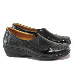 Дамски ортопедични обувки от естествена кожа SOFTMODE 225 черен | Дамски обувки на платформа