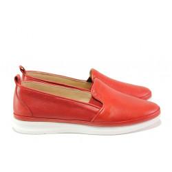 Анатомични дамски обувки от естествена кожа МИ 273-14202 червен | Равни дамски обувки