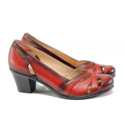 Дамски обувки от естествена кожа МИ 654 червен | Дамски обувки на среден ток