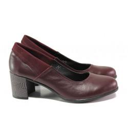 Анатомични български обувки от естествена кожа НЛ 302-527 бордо | Дамски обувки на среден ток
