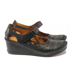 Анатомични дамски обувки от естествена кожа МИ 460-01 черен | Дамски обувки на платформа