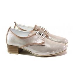 Анатомични обувки от естествена кожа МИ 916-12 сребро | Дамски обувки на среден ток