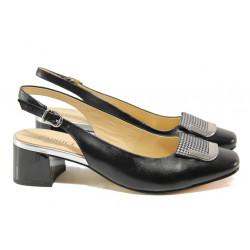 Дамски обувки от естествена кожа Caprice 9-29500-22G черен   Немски обувки на ток