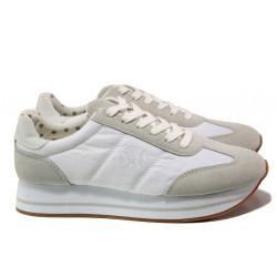"Модерни дамски маратонки с ""мемори"" пяна S.Oliver 5-23612-22 бял | Немски равни обувки"